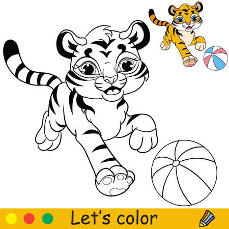 Little tiger with ball coloring with colorful template vector Ilustracja