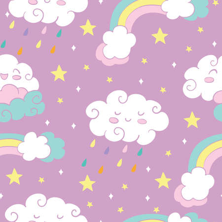 Seamless pattern with rainbow rain clouds and stars on pink background.