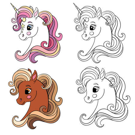 Set of two cartoon unicorns heads. Monochrome with colorful template. Vector illustration. For coloring, postcard, posters, design, cards, stickers, room decor, game, kids apparel, invitation and book 일러스트