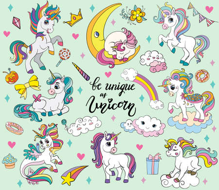 Set of cute cartoon unicorns and magic elements on green background. Vector isolated illustration for party, print, baby shower, sticker, card, posters, design, decor, linen, dishes, t-shirt and apparel 일러스트