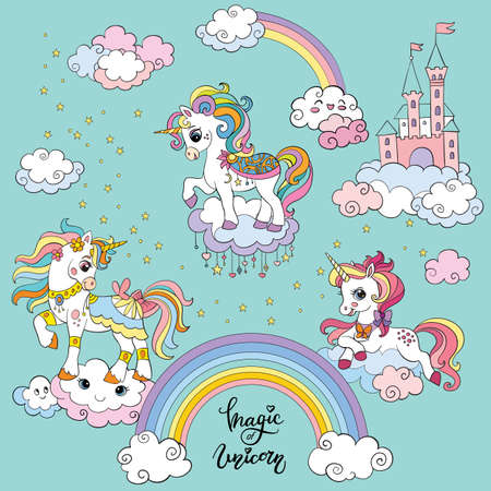 Three cute cartoon unicorns on the clouds. Vector colorful illustration on turquoise background. For postcard, posters, design, cards, stickers, room decor, game, kids apparel, invitation and book 일러스트