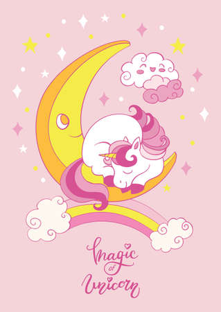 Cute cartoon baby unicorn sleeping on the moon. Vector vertical illustration on pink background. For party, print, baby shower, wallpaper, design, decor, linen, dishes, bed linen and kids apparel