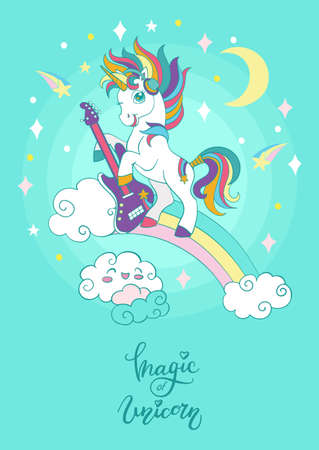 Cool cartoon unicorn with a guitar on a rainbow. Vector vertical illustration on turquoise background. For party, print, baby shower, wallpaper, design, decor, linen, dishes, bed linen and kids apparel