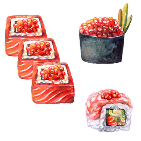 Japanese cuisine rolls and sushi with caviar, watercolor illustration isolated on white background. For design sushi restaurant menu, cards, print, decor, design, wallpaper, marketing, advertising 스톡 콘텐츠