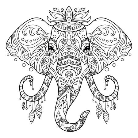 Tangle african elephant coloring book page for adult Ilustración de vector