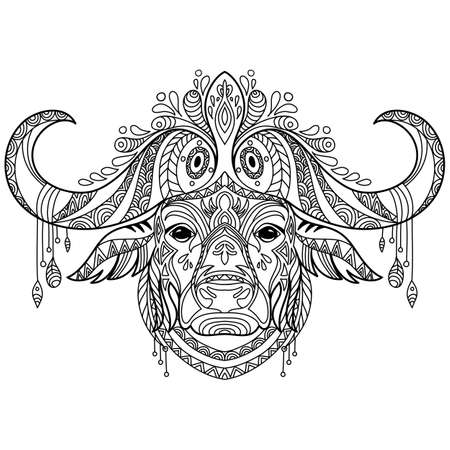 Tangle african buffalo coloring book page for adult 일러스트