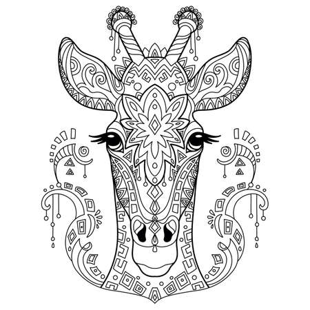 Tangle giraffe coloring book page for adult