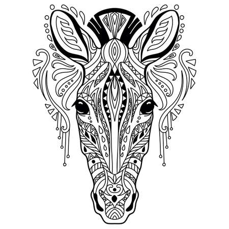 Tangle zebra coloring book page for adult Ilustración de vector