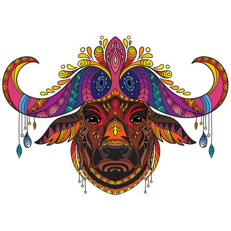 Tangle african buffalo vector colorful isolated illustration 일러스트