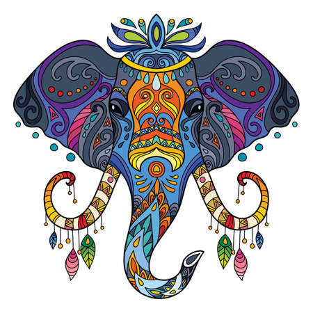 Tangle african elephant vector colorful isolated illustration