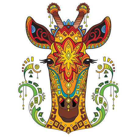 Tangle african giraffe vector colorful isolated illustration 일러스트