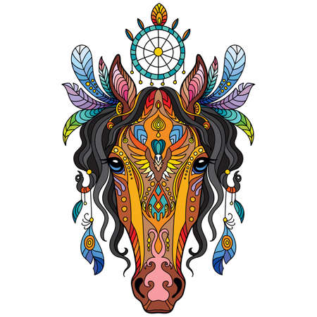 Tangle tribal horse vector colorful isolated illustration 일러스트