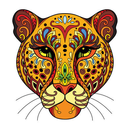 Tangle african leopard vector colorful isolated illustration