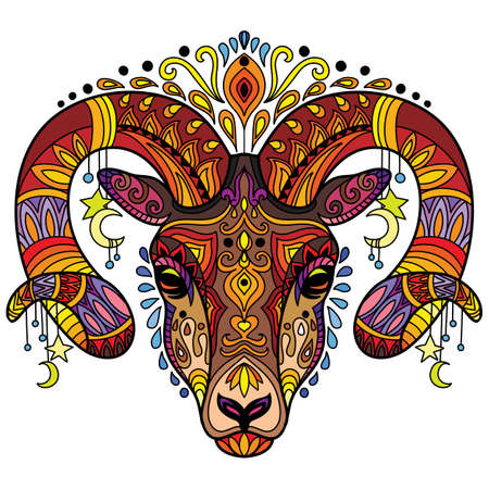 Tangle horned ram vector colorful isolated illustration