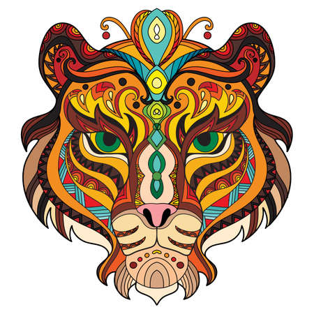Tangle azian tiger vector colorful isolated illustration