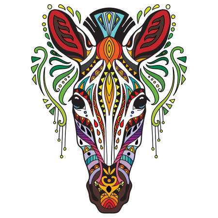 Tangle african zebra vector colorful isolated illustration