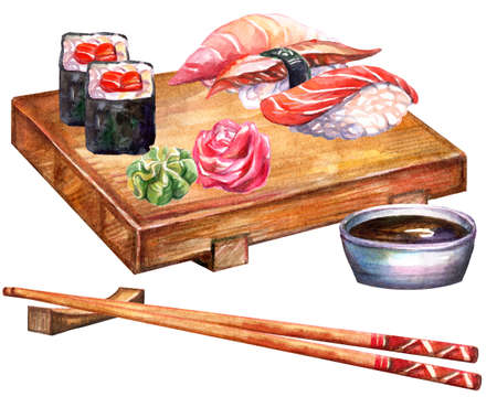 Japanese cuisine rolls and sushi on board with chopsticks, watercolor illustration isolated on white background. For design sushi restaurant menu, cards, print, decor, design, wallpaper, kitchen towel