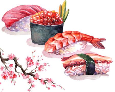 Japanese cuisine sushi with sakura blossom branch, watercolor illustration isolated on white background. For design sushi restaurant menu, cards, print, decor, design, wallpaper, kitchen towel
