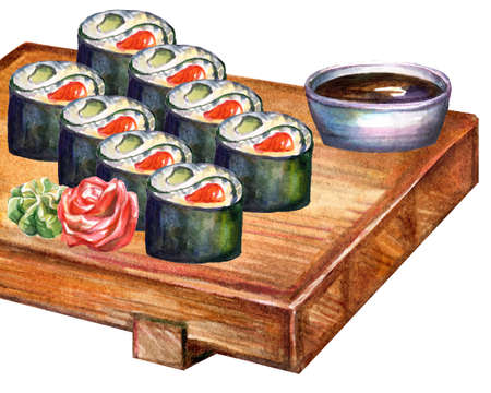 Japanese cuisine rolls on board, watercolor illustration isolated on white background. For design sushi restaurant menu, cards, print, decor, design, wallpaper, kitchen towel