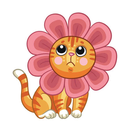 Vector little cute cat with headgear in forme of flower