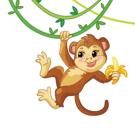 Little monkey cute cartoon character vector illustration