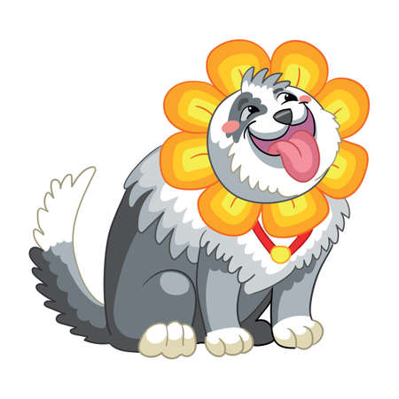 Vector cute dog with headgear in forme of flower