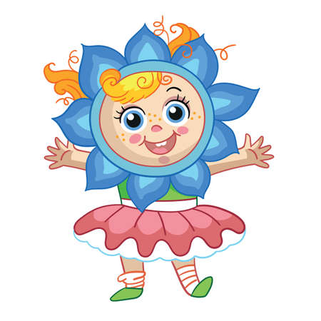 Vector cute girl with headgear in forme of flower