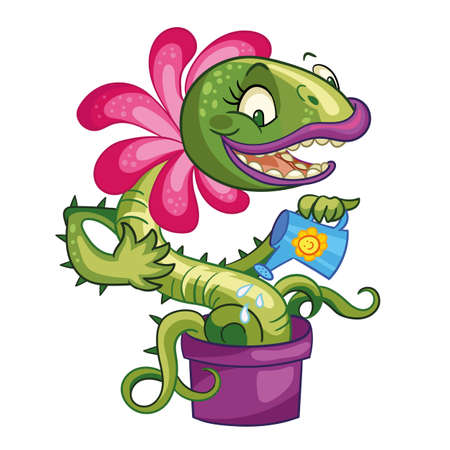 Vector cartoon carnivorous plant with fly illustration