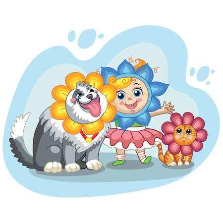 Vector cute girl, cat and dog with headgear in forme of flowers 일러스트