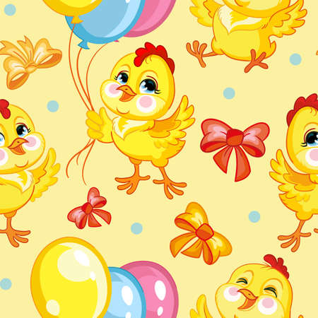 Seamless vector pattern with cute happy chickens with balloons. Colorful illustration vector background birthday concept. For print, t-shirt, design, wallpaper, decor, textile, packaging