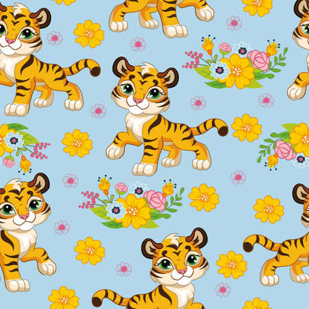 Seamless pattern with cartoon tigers and flowers on blue background. Vector illustration for party, print, baby shower, wallpaper, design, decor, linen, dishes, and kids apparel, packaging paper