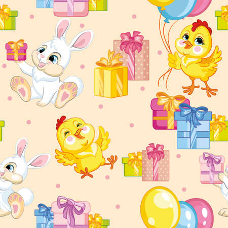 Seamless vector pattern with cute happy rabbits and chickens with presents. Colorful illustration vector background birthday concept. For print, t-shirt, design, wallpaper, decor, textile, packaging