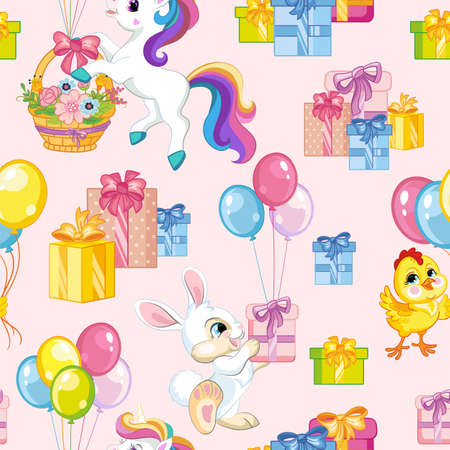 Seamless vector pattern with cute unicorns, rabbits and chicken with presents. Colorful illustration vector background birthday concept. For print, t-shirt, design, wallpaper, decor, textile, packaging