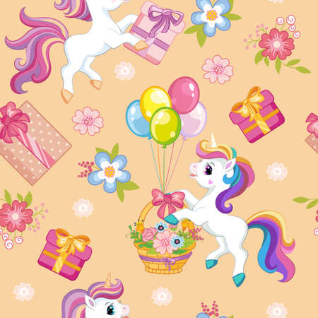 Seamless vector pattern with cute cartoon unicorns, balloons and presents. Colorful illustration vector background birthday concept. For print, t-shirt, design, wallpaper, decor, textile, packaging