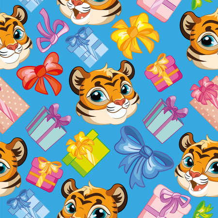 Seamless vector pattern with cute tigers heads with presents. Colorful illustration vector background birthday concept. For print, t-shirt, design, wallpaper, decor, textile, packaging