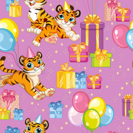 Seamless vector pattern tigers happy birthday purple 일러스트