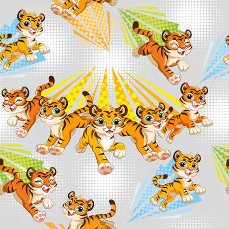 Seamless pattern with joyful running tigers on gray background. Vector illustration for party, print, baby shower, wallpaper, design, decor, linen, dishes and kids apparel, packaging paper