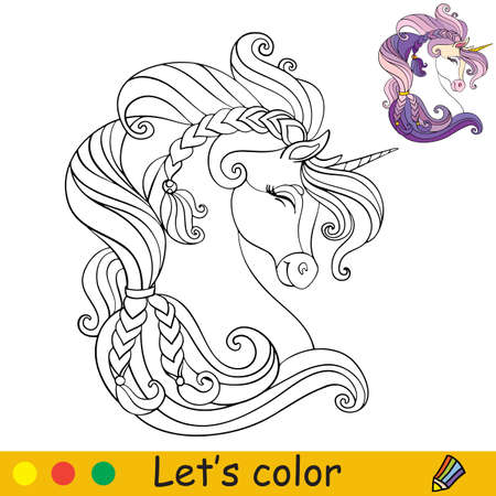 Cute head of unicorn in profile. Coloring book page with colorful template. Vector cartoon isolated illustration. For coloring book, education, print, game, party, baby shower, design, decor and apparel