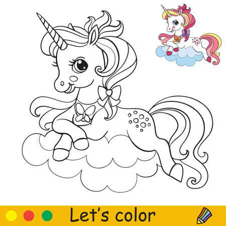 Cute unicorn lying on a cloud. Coloring book page with colorful template. Vector cartoon isolated illustration. For coloring book, education, print, game, party, baby shower, design, decor and apparel 일러스트