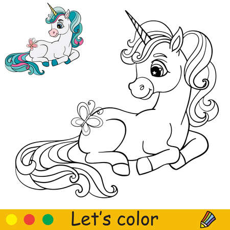 Cute cartoon unicorn with a butterfly. Coloring book page with colorful template. Vector cartoon isolated illustration. For coloring book, education, print, game, party, baby shower, design, decor and apparel