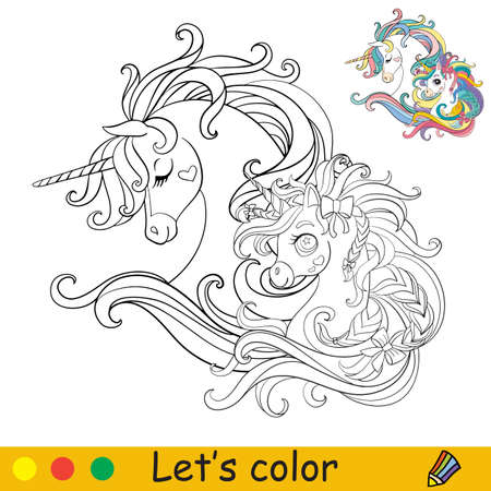 Cute heads of two unicorns in profile. Coloring book page with colorful template. Vector cartoon isolated illustration. For coloring book, education, print, party, baby shower, design, decor and apparel