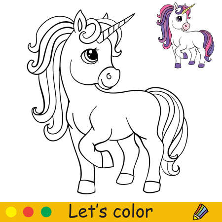 Cute standing cartoon unicorn. Coloring book page with colorful template. Vector cartoon isolated illustration. For coloring book, education, print, game, party, baby shower, design, decor and apparel