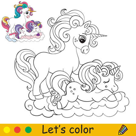 Cute mom and baby unicorns Coloring book page with colorful template. Vector cartoon isolated illustration. For coloring book, education, print, game, party, baby shower, design, decor and apparel 일러스트