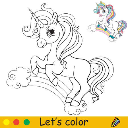 Cute unicorn standing on a rainbow. Coloring book page with colorful template. Vector cartoon isolated illustration. For coloring book, education, print, game, baby shower, design, decor and apparel