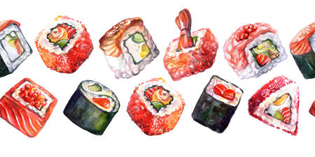 Seamless border japanese cuisine. Background with different sushi elements, watercolor illustration. For design sushi restaurant menu, print, decor, design, wallpaper, marketing and paper 스톡 콘텐츠