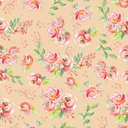 Rose flowers isolated on pink coral background. Watercolor seamless pattern. Illustration for card, party, print, fabric, wallpaper, design, decor, design cushion, baby shower and wedding