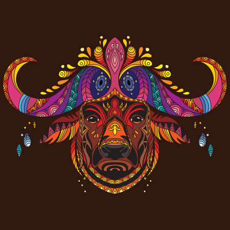 Head of buffalo with doodle elements. Abstract vector colorful illustration isolated on brown background. For design, print, decor, tattoo, t-shirt, puzzle, poster, porcelain and stickers