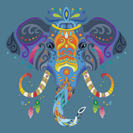 Head of elephant with doodle elements. Abstract vector colorful illustration isolated on blue background. For design, print, decor, tattoo, t-shirt, puzzle, poster, porcelain and stickers