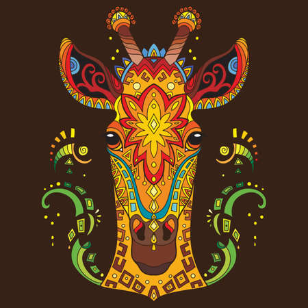 Head of giraffe with doodle elements. Abstract vector colorful illustration isolated on brown background. For design, print, decor, tattoo, t-shirt, puzzle, poster, porcelain and stickers