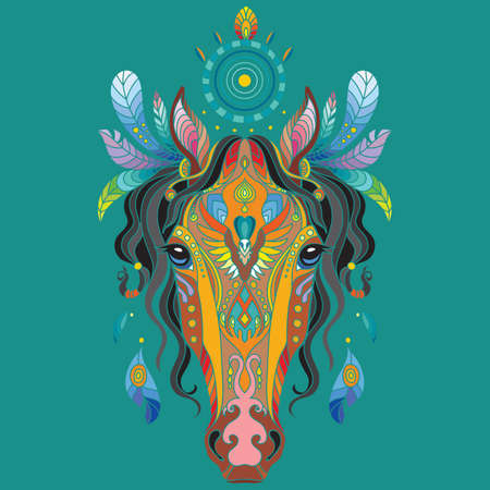 Head of horse with doodle elements. Abstract vector colorful illustration isolated on turquoise background. For design, print, decor, tattoo, t-shirt, puzzle, poster, porcelain and stickers 일러스트